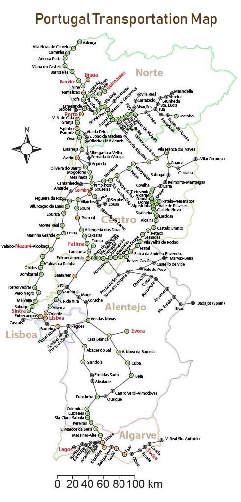 portugal transportation map