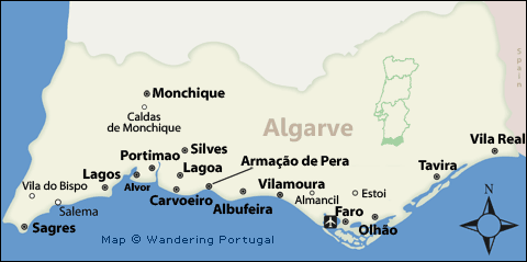 Algarve map map of the algarves top cities for tourists algarve map gumiabroncs Image collections