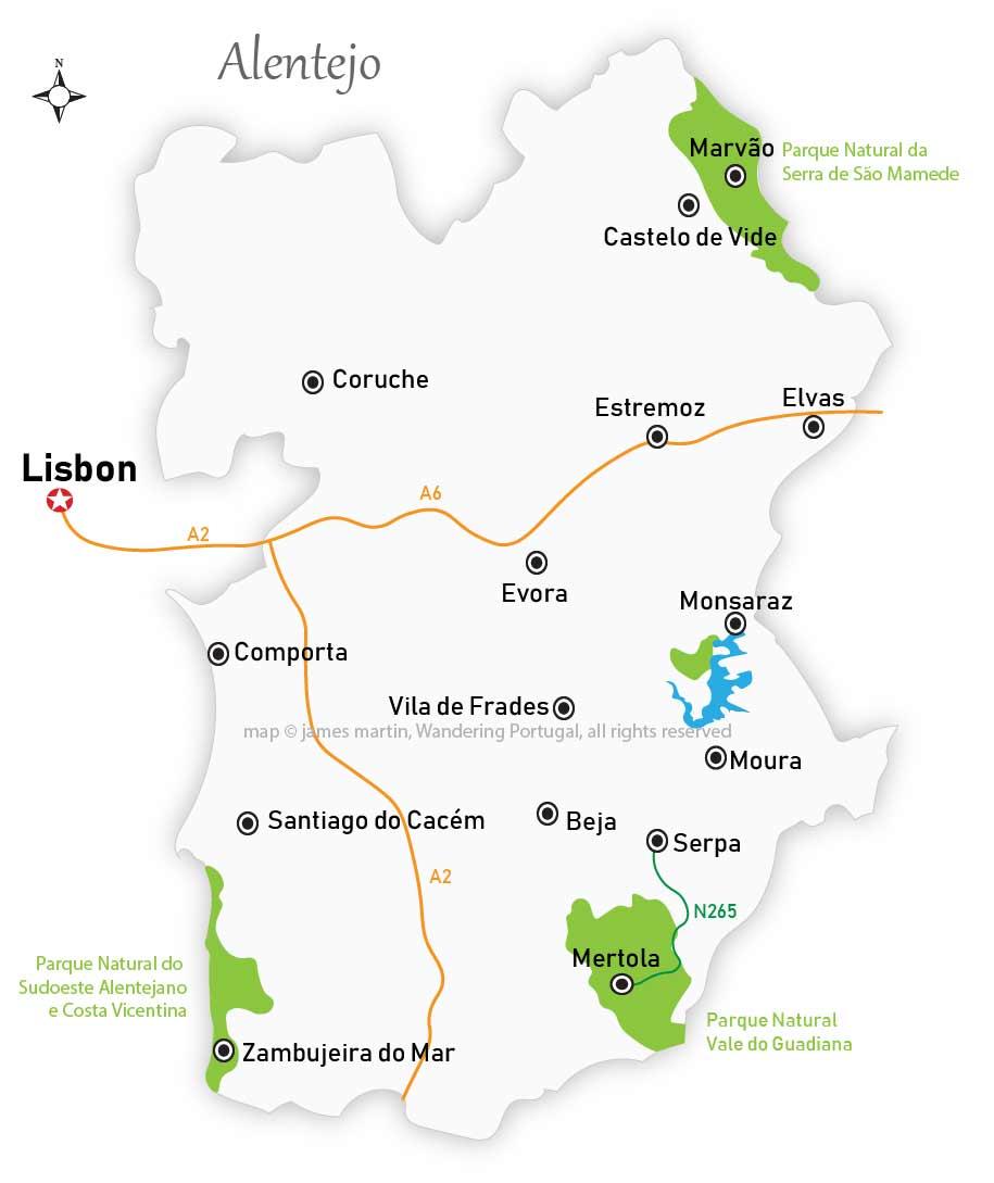 alentejo cities map