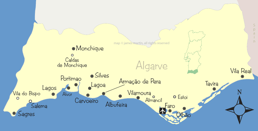 Algarve Cities And Attractions Map Wandering Portugal