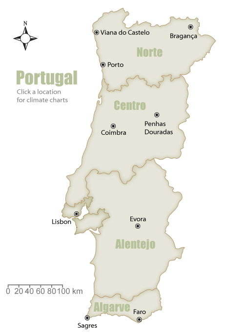 Wandering Portugal Weather - Portugal map weather