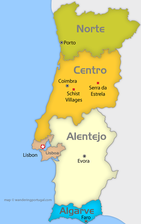 Portugal Regions Map Wandering Portugal - Portugal map minho