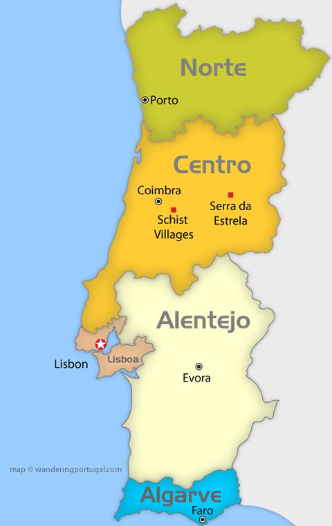 portugal regions map